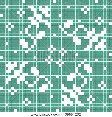 Pixelated style seamless lace pattern. Textile blue and white mosaic ornament.