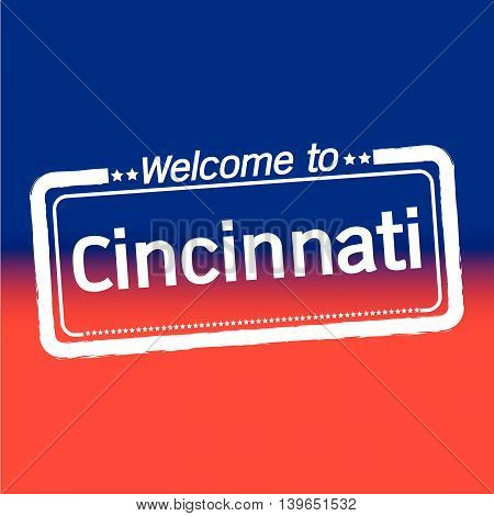 an images of Welcome to Cincinnati City illustration design