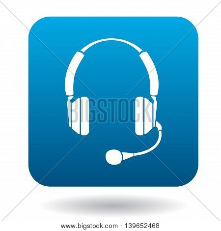Headphones with microphone icon in flat style in blue square. Device symbol