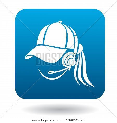 Online consultant female icon in flat style in blue square. Service symbol