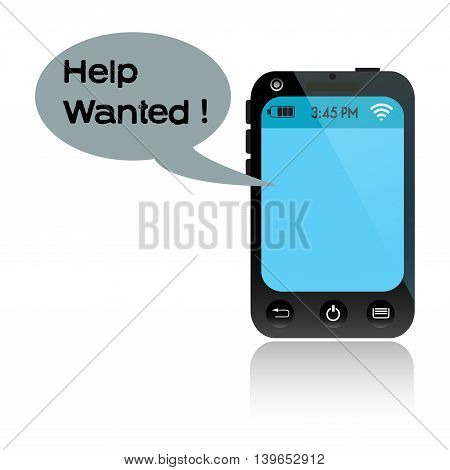Isolated blue smartphone messaging a text of help
