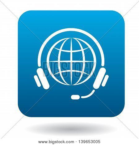 Calls around world icon in flat style in blue square. Service symbol