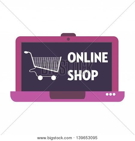 Isolated laptop with shopping cart and the text online shop written on its screen