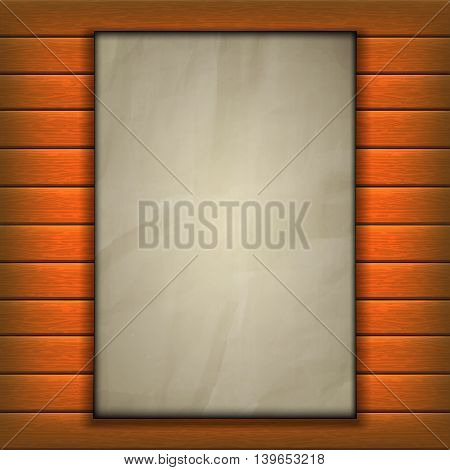 Template background old sheet of paper page on wooden background. Clean template can be used with any image or text