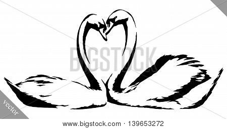 black and white linear paint draw swans bird vector illustration