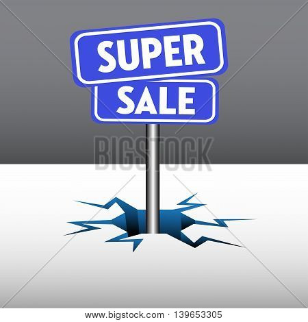 Abstract colorful background with two blue plates with the text super sale, coming out from an ice crack