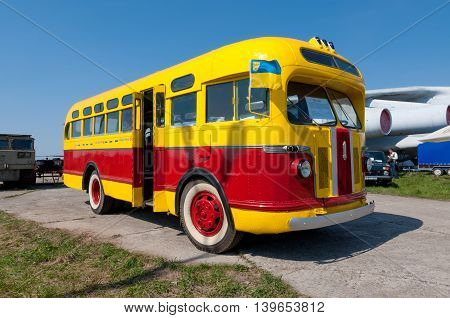 Kyiv Ukraine - April 26 2015: Old fashioned vintage city bus ZIS -155 (made in 1947) is on display at the festival