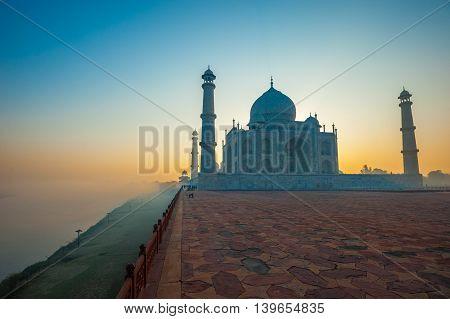 Taj Mahal at sunrise Agra Uttar Prdesh India