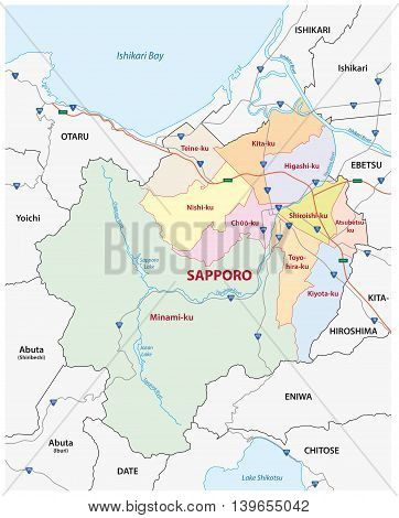 road, administrative and political map of the Japanese city sapporo