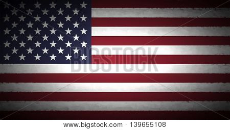 Illustration of the American Flag with a vignette