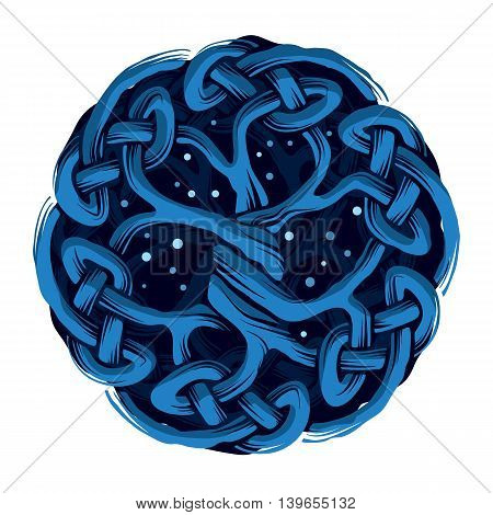 Illustration of celtic tree of life in the night, ethnic concept, vector illustration