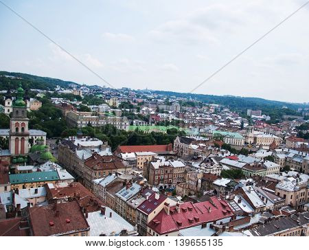 The Old City Of Lvov From Height