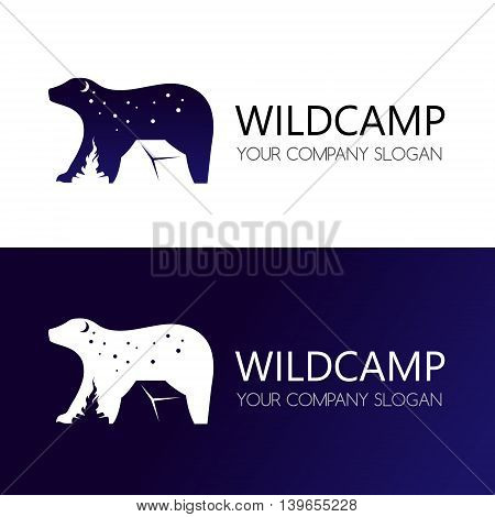 Camping emblem. Outdoor activity symbol in negative space style. Vector logo template.
