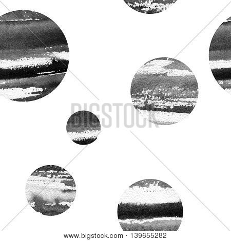 abstract pattern with circles image, filled with watercolor texture black, white and gray.