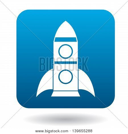 Space rocket icon in flat style on a white background