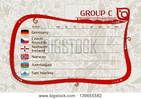 Football qualifiers matches group C table of results layering easy editable vector template