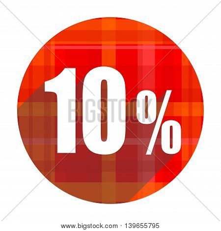 10 percent red flat icon isolated on white background