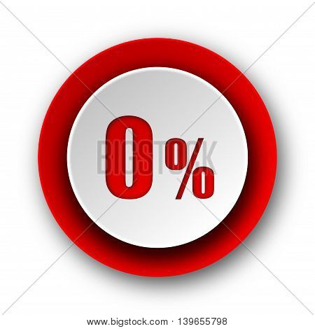 0 Percent Red Modern Web Icon On White Background