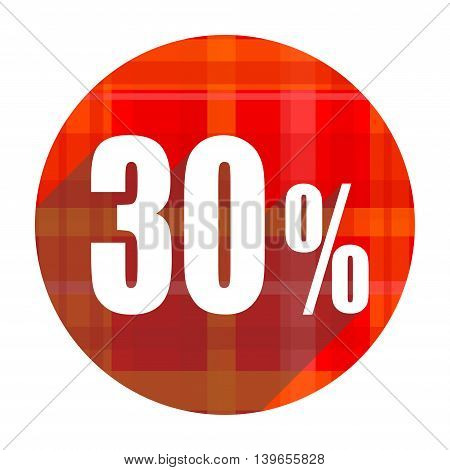 30 percent red flat icon isolated on white background