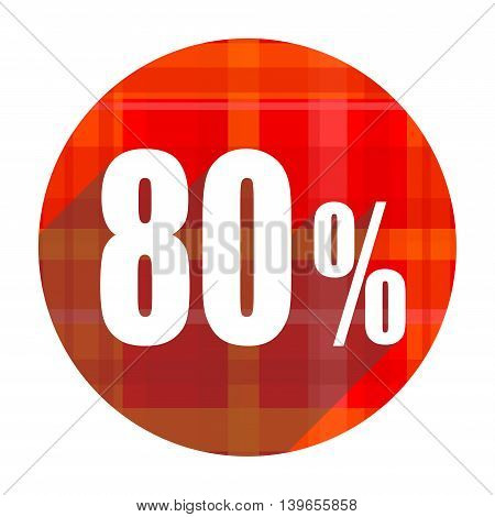 80 percent red flat icon isolated on white background