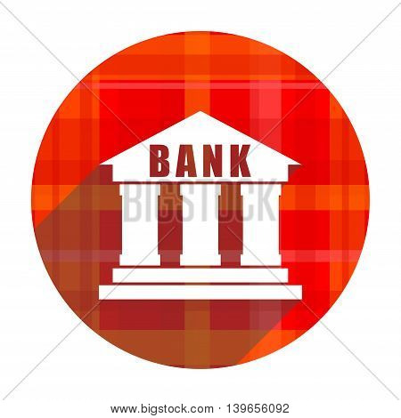 bank red flat icon isolated on white background