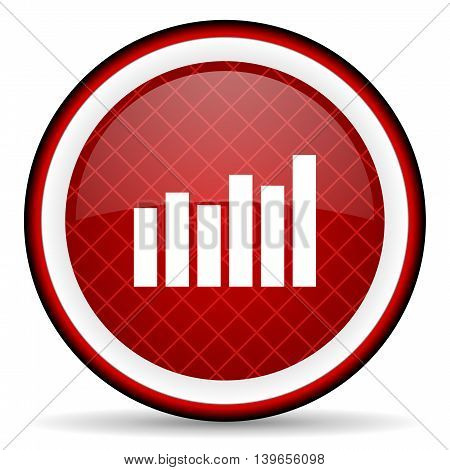 Bar Graph Red Glossy Icon On White Background