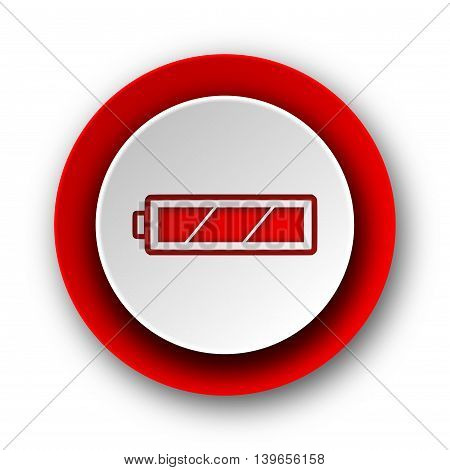 Battery Red Modern Web Icon On White Background