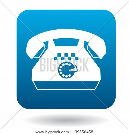 Retro phone with a taxi sign icon in flat style on a white background