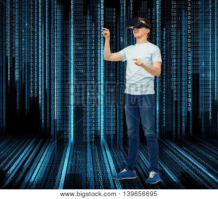 3d technology, virtual reality, entertainment, cyberspace and people concept - happy man with virtual reality headset or 3d glasses playing game and touching something over background with binary code