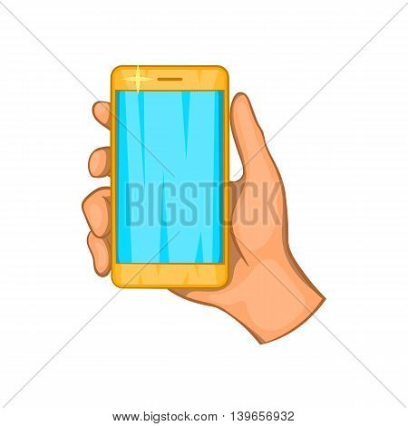 Mobile phone in hand icon in cartoon style isolated on white background. Communication symbol
