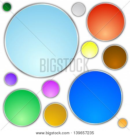 A set of different colored buttons on a white background. vector