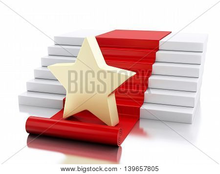 3d renderer image. A star in the stairs with red carpet. Success concept. Isolated white background.