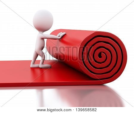 3d renderer image. White people rolling red carpet. Isolated white background.