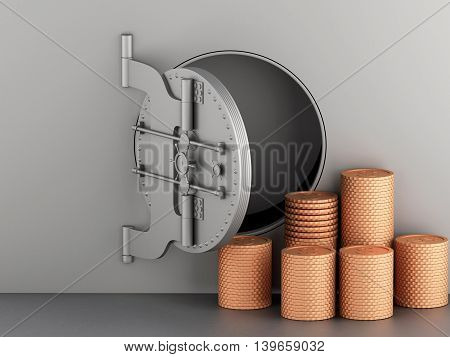 3d renderer image. Metallic bank vault with door open and coins. Security and safe concept.