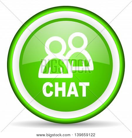 chat green glossy icon on white background