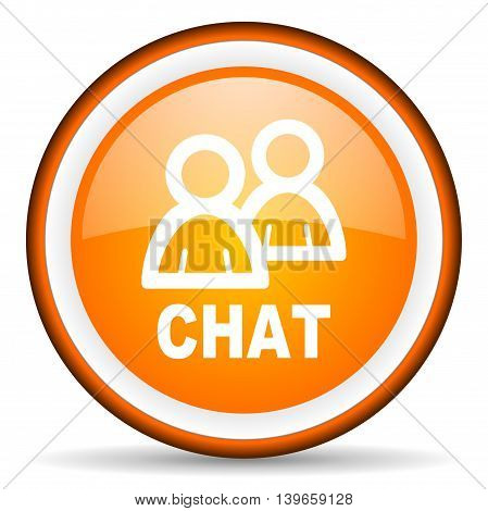 chat orange glossy circle icon on white background