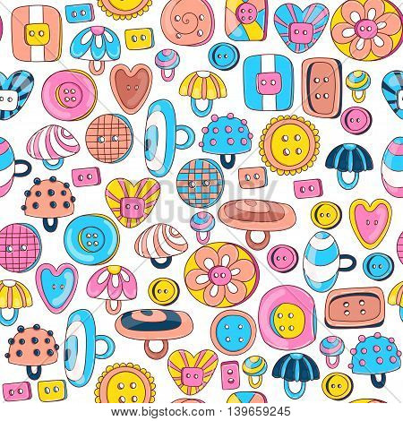 Seamless pattern of colorful cartoon buttons. Vector illustration.