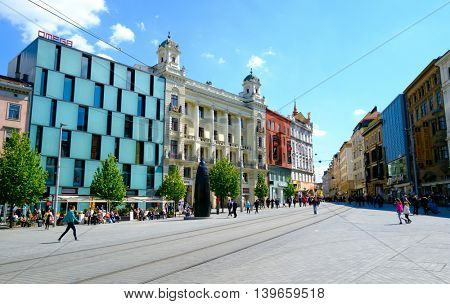 Brno, Czech Republic - April 29, 2016: People visit Freedom Square in old city at sunny day