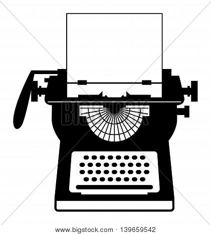 Vintage typewriter on white background, vector illustration