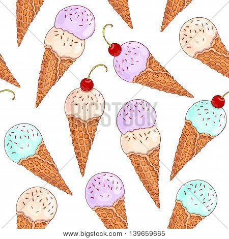 Seamless pattern with bright sweet ice cream, drawn in cartoon style.