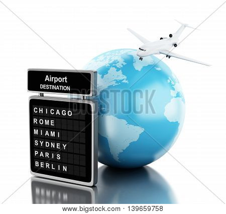 3d renderer image. Airplane flying around globe and board airport. Travel concept. Isolated white background.