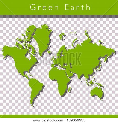 Green world map with space for text