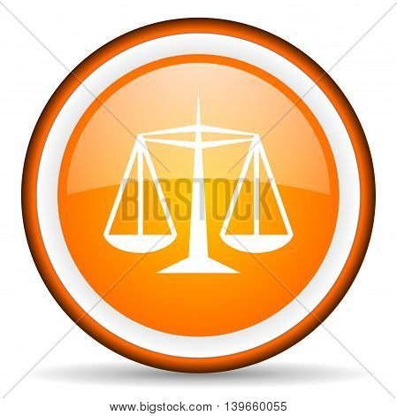 Justice Orange Glossy Circle Icon On White Background