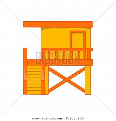 Rescue booth on the beach icon in cartoon style isolated on white background. Observation symbol