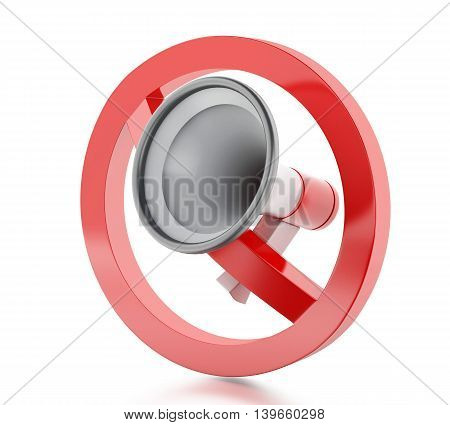 3d renderer image. Megaphone surrounded by a forbidden sign. Isolated white background.
