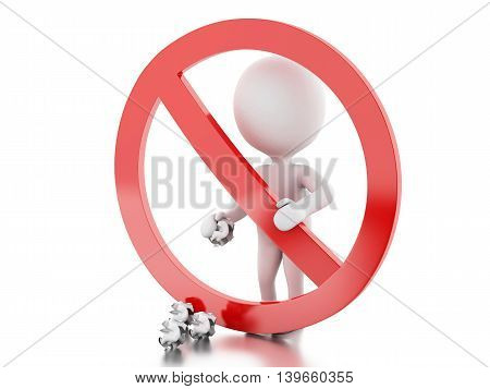 3d renderer image. White people throwing trash to the floor surrounded by a forbidden sign. Isolated white background.