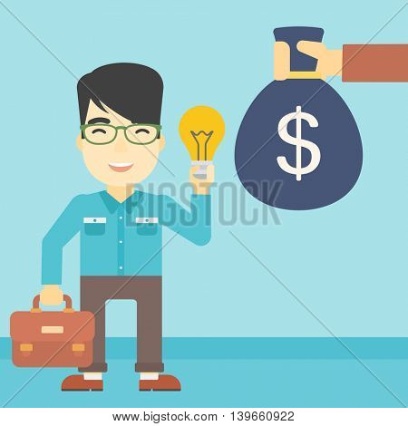 An asian young happy businessman with briefcase exchanging his idea bulb to money bag. Successful business idea concept. Vector flat design illustration. Square layout.