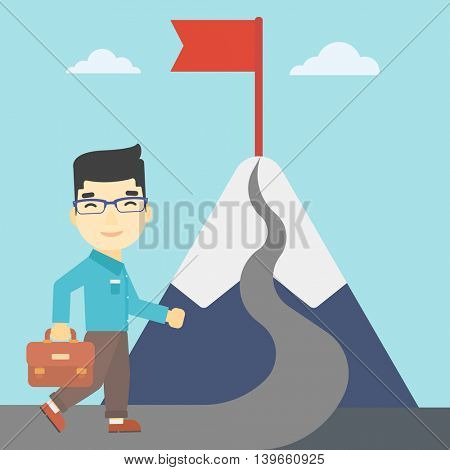 An asian businessman standing at the foot of the mountain. Businessman walking on a road leading to the flag on the top of the mountain. Vector flat design illustration. Square layout.