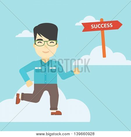 An asian young businessman running in the sky near direction sign success. Successful business concept. Vector flat design illustration. Square layout.