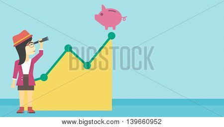 An asian young business woman looking through spyglass at a piggy bank standing at the top of growth graph. Vector flat design illustration. Horizontal layout.